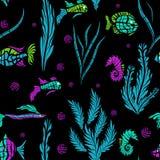Seamless kids ocean fish illustration pattern Stock Images