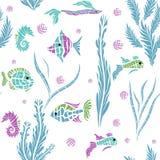Seamless kids ocean fish illustration pattern Royalty Free Stock Photos