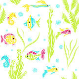 Seamless kids ocean fish illustration pattern in vector Royalty Free Stock Images