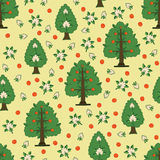 Seamless kids pattern with apple trees Royalty Free Stock Photo