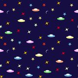 Seamless kids pattern on blue background.Space adventure. Starry sky with planes.  Stock Image