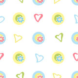 Seamless kids pattern with cartoon flowers and hearts background Royalty Free Stock Photo