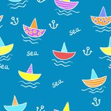 Seamless kids pattern with color funny cartoon sea and ships. Stock Photography