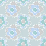 Seamless kids pattern with cute cartoon flowers on blue Stock Images