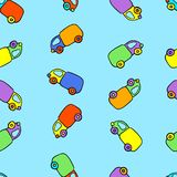 Seamless kids pattern with funny cartoon colorful cars. Royalty Free Stock Photography