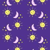 Seamless kids pattern with funny cartoon moon, sun, stars. vector illustration