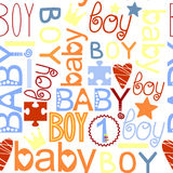 Seamless kids pattern with label Baby Boy Royalty Free Stock Photography