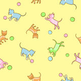 Seamless kids pattern with playing kittens. Royalty Free Stock Photo