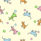 Seamless kids pattern with playing kittens. Royalty Free Stock Image