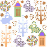 Seamless kids pattern with rabbits  and seamless pattern in swat Stock Image