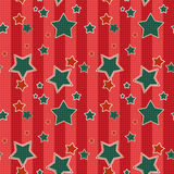 Seamless kids pattern with red stripes stars background Stock Photos
