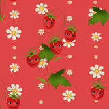 Seamless kids pattern with strawberry cartoon characters on red Stock Photos