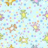 Seamless kids pattern with teddy-bears and dots. Royalty Free Stock Images