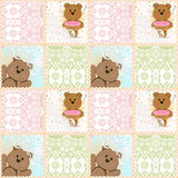 Seamless kids pattern with teddy bears and lace Stock Image
