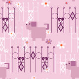Seamless kids pattern texture with dogs puppy and geometric elem Stock Photos
