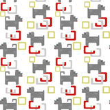 Seamless kids pattern texture with pixel dogs and geometric elem Royalty Free Stock Images