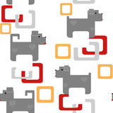 Seamless kids pattern texture with pixel dogs and geometric elem Stock Image