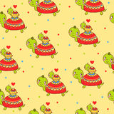 Seamless kids pattern with turtles. Stock Photography