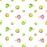 Seamless kids pattern with watering cans and balls on white Royalty Free Stock Image