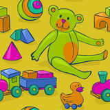 Seamless kids toys. Seamless pattern featuring colorful, cute, classic kids toys - teddy bear, duck on wheels, building blocks, ball and wooden train Stock Photo