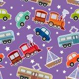 Seamless kids transport toys background Stock Photos
