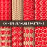 seamless kinesisk modell Ljus vektorbakgrund med den röda prydnaden Garnering med traditionell Kina stil stock illustrationer