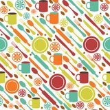 Seamless kitchen background. Seamless pattern of kitchen utensils in flat style Royalty Free Stock Photography