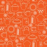 Seamless kitchen background. Seamless pattern of kitchen utensils in outline style Royalty Free Stock Photography