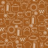 Seamless kitchen background. Seamless pattern of kitchen utensils in outline style Stock Image