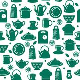 Seamless kitchen background. Seamless pattern of kitchen utensils in outline style Royalty Free Stock Images
