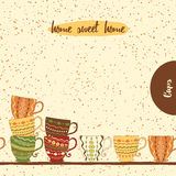 Seamless kitchen border with hand drawing cute colored cups made on doodle style. Stock Photography