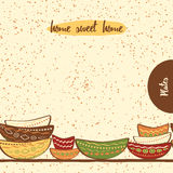 Seamless kitchen border with hand drawing cute colored plates made on doodle style. Seamless horizontal border with hand drawing cute colored plates. Kitchen Stock Images