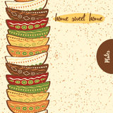 Seamless kitchen border with hand drawing cute colored plates made on doodle style. Stock Photos