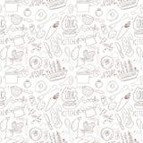 Seamless kitchen doodling Stock Photos