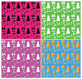 Seamless Kitchen Item Patterns Stock Images