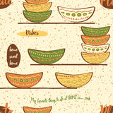 Seamless kitchen pattern with hand drawing cute colored plates on the  shelf. Seamless pattern with hand drawing cute colored plates on the  shelf. Kitchen Royalty Free Stock Photography