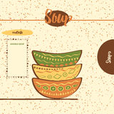Seamless kitchen pattern with hand drawing cute colored plates on the  shelf. Hand drawing cute colored plates on the  shelfs. Kitchen background with bowls Royalty Free Stock Photography