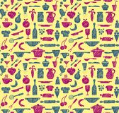 Seamless kitchen supplies. Hand drawn Stock Image