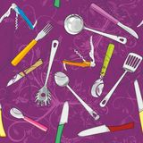 Seamless with kitchen tools Royalty Free Stock Photography