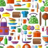Seamless kitchen tools background Stock Photos