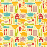 Seamless kitchen vector background with flat  icons Stock Photos
