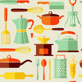 Seamless kitchen vector background with flat style  icons Royalty Free Stock Photos