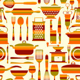 Seamless kitchen vector background Stock Images