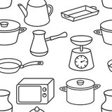 Seamless kitchenware icons pattern on white background Stock Images