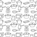 Seamless kitchenware icons pattern on white background Stock Photography