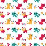 Seamless kitten wallpaper design Stock Images