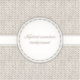 Seamless knitted background with stitched frame Stock Images