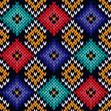 Seamless knitted colorful pattern Stock Images