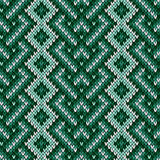 Seamless knitted interwoven pattern in green hues Royalty Free Stock Photo