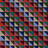 Seamless knitted motley multicolour geometric pattern Royalty Free Stock Photography
